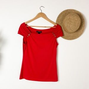 WHBM Red Off-the-shoulder Tee